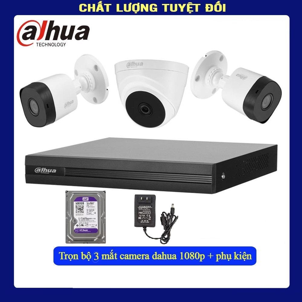 Bộ 3 Camera 2.0Mp Dahua (Trong Nhà Hoặc Ngoài Trời) chính hãng giá rẻ