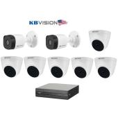 Bộ 8 Camera 2.0Mp KBVISION (Trong Nhà Hoặc Ngoài Trời) chính hãng giá rẻ
